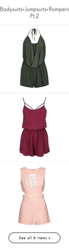 """""""Bodysuits+Jumpsuits+Rompers Pt.2"""" by brook-s18 ❤ liked on Polyvore featuring jumpsuits, rompers, neck-tie, neck ties, khaki romper, playsuit romper, backless romper, dresses, playsuits and vestidos"""