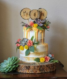 Semi-naked half-dressed drip wedding cake with succulents and fresh flowers. Orange and yellow drip cake. Orange, yellow, pink and green wedding cake. Purple Wedding Cakes, Yellow Wedding, Purple Yellow, Pink And Green, 70s Party Decorations, Kitten Party, Summer Wedding Colors, Butterfly Wedding, Cake Makers