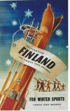 Original vintage poster FINLAND FOR WINTER SPORTS SKI 1951 #Modernism