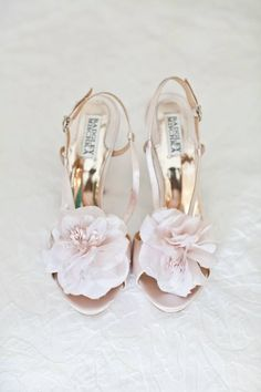 Blush and floral combine to make the perfect shoe #weddingshoes #bridebook #badgleymishka www.bridebook.co.uk