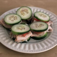 cucumber turkey sandwiches... carb free, tasty, and mini