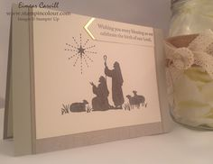 Stampin' Up Every Blessing in neutral shades with a hint of gold Christmas Gift Card Holders, Christmas Gifts, Christian Christmas Cards, Wedding Invitations, Invites, Nativity, Stampin Up, Blessed, Neutral