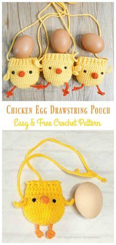 Crochet Easter, Easter Crochet Patterns, Holiday Crochet, Crochet Bunny, Crochet Patterns Amigurumi, Crochet Pattern Free, Crochet Pouch, Crochet Gifts, Chicken Pattern