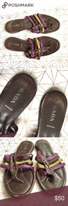 Authentic Prada strappy sandals - Size: 9 - Material: leather - Condition: good used condition  - Color: brown, purple, and a greenish color - Style: strappy sandals  - Extra notes: scuffing as shown Prada Shoes Sandals