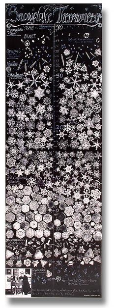 """An amazing Snowflake Thermometer Poster by Bentley, """"The Snowflake Man"""", a photographer from Vermont who worked in 1920s"""