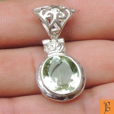 WONDERFUL RARE GREEN AMETHYST .925 STERLING SILVER PENDANT P0003