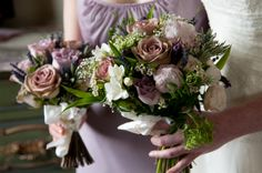 informal posy of late spring flowers with rose Hypnose & Memory Lane.  Image by Ella and Laurence Photography