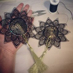 Finished my deluxe burlesque nipple tassels!-Sienna (Babydoll)