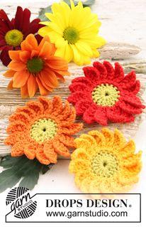 "Crochet DROPS Marguerite flowers in ""Safran"". ~ DROPS Design"