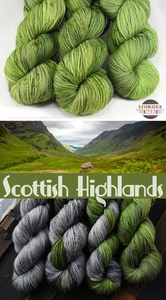 Scottish Highlands - Souvenir DK The gorgeous green landscape of the Scottish Highlands was just begging to be turned into yarn! Hand dyed, speckled DK weight yarn perfect for autumn knitting, crochet, and DIY craft projects. Yarn Inspiration, Dk Weight Yarn, Yarn Stash, Crochet Yarn, Crochet Crafts, Yarn Crafts, Wood Crafts, Diy Crafts, Arm Knitting