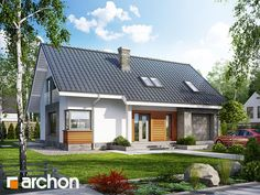 Dom pod lipką 2 (P) Model House Plan, House Plans, Traditional House, Home Fashion, Bungalow, New Homes, Floor Plans, Exterior, Outdoor Structures