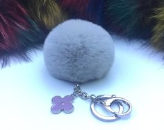 New! Summer Collection Light Gray fur pom pom keychain bag charm flower clover keyring by YogaStudio55 on Etsy