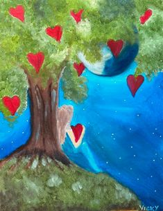 Step by step to your own Masterpiece with Paint Along Heart Tree, Paint Party, Painting, Painting Art, Paintings, Painted Canvas, Drawings