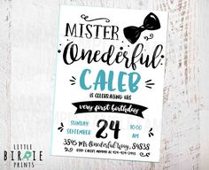 MISTER ONEDERFUL INVITATION Mr. Onederful Birthday Invitation Little man bowtie…