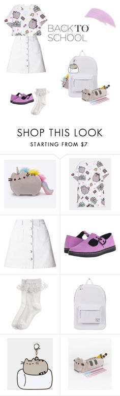 """#PVxPusheen"" by orangebubblegum-1 ❤ liked on Polyvore featuring Pusheen, Miss Selfridge, Dr. Martens, Monsoon, Herschel Supply Co., Ellis Faas, contestentry and PVxPusheen"