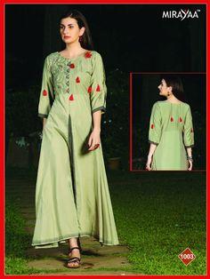 d70d740dd Mirayaa Rapchik Fancy Designer Printed Rayon Long Flair Readymade Stylish  Kurtis at Wholesale Rate