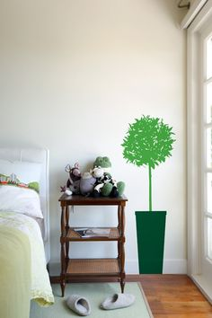 """Conserve water and """"plant"""" a faux citrus tree instead. This easy to install citrus tree wall sticker is sure to brighten up any room. Order this tree wall graphic for any surface in your home! Removable Vinyl Wall Decals, Wall Stickers, Wall Decor Lights, Tree Decals, Plant Wall, Reno, Green Trees, Tree Wall, Ladder Decor"""