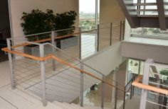 Photo gallery of ultra-tec stainless steel cable railing systems used in decks, stairs and other residential cable railing applications Commercial Stairs, Stainless Steel Cable Railing, Cable Railing Systems, Bannister, Easy Install, Staircases, Living Area, Home Decor, Home
