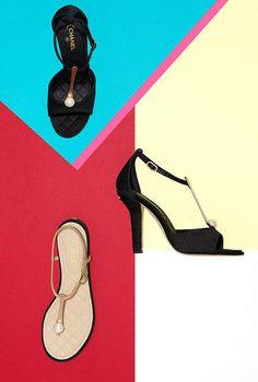 Sandales, tissu & satin-noir - CHANEL