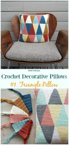 Triangle Pillow Crochet Free Pattern - #Crochet; Decorative #Pillow; Free Patterns