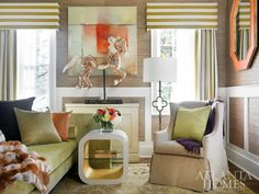 SmithBoyd Interiors Nursery design at the Atlanta Homes & Lifestyles showhouse with BRADLEYS Austin side table, Bernard cabinet, and Lily chair {Images via Atlanta Homes & Lifestyles} - Amazing Interior Design Design Seeds, Interior Inspiration, Design Inspiration, Huge Houses, American Interior, Build Your Own House, Living Spaces, Living Room, Atlanta Homes