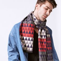 Stylish Wool Men's Scarf with Triangles Pattern Sock Tie, Triangle Pattern, Handkerchiefs, Fashion Men, Outfit Of The Day, Ties, Street Wear, Menswear, Socks