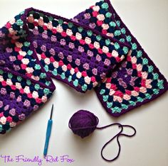 Colorful granny square scarf! I love the color for the dreary winter months.