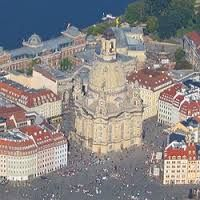 Dresdner Frauenkirche  rebuilt with appr. 50% of the old stones after it collapsed during the 2. War in Germany