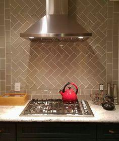 Taupe Glass Subway Tile Kitchen Backsplash