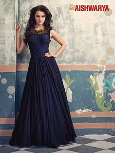 This one is for the Queen! Buy this exceptionally elegant Anarkali Suit Online - http://www.aishwaryadesignstudio.com/ready%20to%20ship/19781-elegant-blue-floor-length-anarkali-suit.aspx