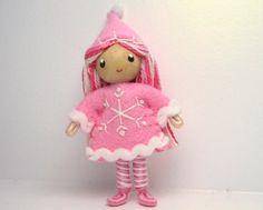 Kindness Elf Bendy Doll, Waldorf Felt Bendable DollHouse- Christmas Snowflake Doll- Girl- North Pole- Ornament Option- Nature table