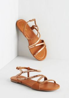 Kick it Up a Hopscotch Sandal - Flat, Faux Leather, Tan, Solid, Casual, Beach/Resort, Festival, Summer, Better, Strappy, Gold