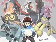 Hilbert/Black with Carracosta, Emboar, Braviary, Munna, and Galvantula.