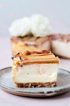 Vegan Baked Rhubarb Cheesecake (nut free & high in protein) #vegan #springtime #rhubarb