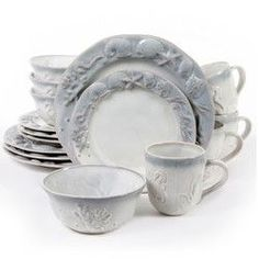 Gibson Elite Seashore Bay 16pc Stoneware Dinnerware Set