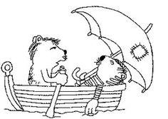 Janosch Ausmalbild Malvorlage Tiger und Bär im Boot