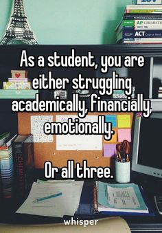 My academics are good but at the expense of the other two ugh!