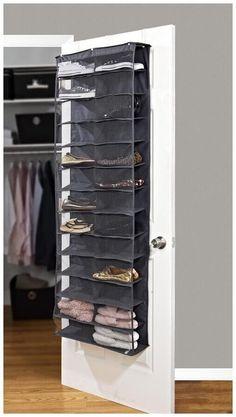 26 Pocket Over the Door Shoe Organizer - Grey by Neutrals Closet Organization on Diy Shoe Storage, Closet Storage, Closet Organization, Locker Storage, Shoe Storage Behind Door, Storage Ideas, Organizing Shoes, Wardrobe Storage, Smart Storage