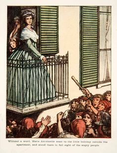 1909 Color Print Marie Antoinette Jenny Wylie Balcony Crowd Versailles XEJ4