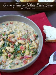 Creamy Tuscan White Bean Soup: This is an immensely flavorful and filling soup featuring lots of smooth beans, lots of kale, a healthy dose of sun-dried tomatoes plus a few herbs and a creamy base courtesy of cashews. Soup Recipes, Whole Food Recipes, Vegetarian Recipes, Cooking Recipes, Healthy Recipes, Vegan Soups, White Bean Soup, White Beans, Advocare Recipes