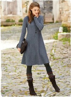 46 Cozy winter dresses ideas with leggings - X fashion women Tights And Boots, Dress With Boots, Dresses With Leggings, Sweater Dress With Leggings, Winter Dresses With Boots, Skirt Boots, Winter Leggings, Black Tights, Pretty Outfits