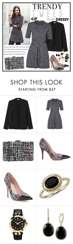 """""""Trendy Tweed."""" by shiningstars17 ❤ liked on Polyvore featuring Rebecca Taylor, JNB, Kate Spade, Blue Nile, Versace, Effy Jewelry, Rebecca Minkoff, women's clothing, women and female"""