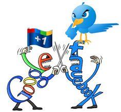 Google + VS Facebook Twitter