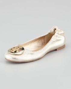 Tory Burch - Reva Vintage Metallic Ballet Flat, Platinum/Golden