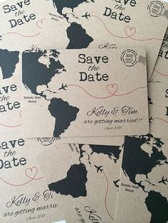 Note for Stephanie: I really like the map idea for the save the date magments. All of Cherry Sealeds products available to buy, including cards, wedding invitations, christening invitations, personalised prints and new baby cards Destination Wedding Invitations, Save The Date Invitations, Wedding Stationary, Save The Date Cards, Wedding Planner, Destination Weddings, Destination Wedding Save The Date Ideas, Save The Date Mariage, Trendy Wedding