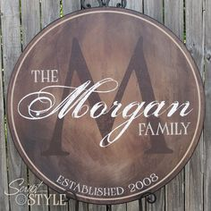 "Personalized Family Name Sign, Last Name Sign, Wall Art with Established Date & Monogram, 24"". $119.99, via Etsy."