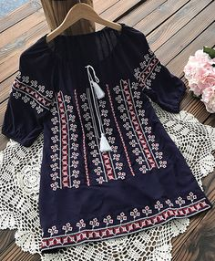 $22.99 Only for this ethnic style! Free shipping as well! This printing top features tie at collar&delicate embroidery! Try this free style at Cupshe.com