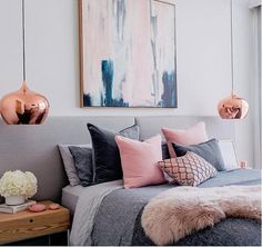 grey pink blue bedroom blush white and grey bedroom inspiration loft bedroom and. - Pink Bedroom For Teens grey pink blue bedroom blush white and grey bedroom inspiration loft bedroom - Bedroom Themes, Bedroom Colors, Home Decor Bedroom, Bedroom Designs, Diy Bedroom, Bedroom Artwork, Bedroom Wall, Copper Bedroom Decor, Bedroom Lamps