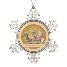 Vintage Victorian Santa Claus Reindeer Sleigh Ornament