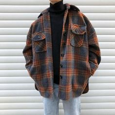 Winter Wollmantel Männer Warmer Mantel Mode Retro Hit Farbe Tartan Wolljacke Herren Streetwear Loose Long Woolen Jacket Man Source by oyamaaneaki clothes Vintage Outfits, Retro Outfits, Casual Outfits, Plaid Shirt Outfits, Soft Grunge Outfits, Easy Outfits, Unique Outfits, Urban Outfits, Beautiful Outfits